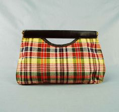 Vintage Madras Plaid Clutch Purse // 1960s by independencevintage, on Etsy