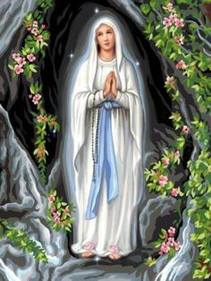 Our Lady of Lourdes Blessed Mother Mary, Divine Mother, Blessed Virgin Mary, Mother And Father, Lady Madonna, Madonna And Child, Religious Pictures, Jesus Pictures, Immaculée Conception