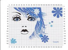 0 point de croix visage de fille aux cheveux bleus - cross stitch girl with blue hair