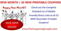 WOO HOO! 32 New Printable Coupons were just released this morning! Be sure to get them printed as they may not last long!  Click the link below to get all of the details ► http://www.thecouponingcouple.com/32-new-printable-coupons-12-1-17/ #Coupons #Couponing #CouponCommunity  Visit us at http://www.thecouponingcouple.com for more great posts!