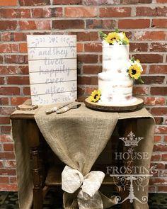 Naked sunflower wedding cake