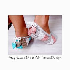 Stripes and Hearts Slippers/ Espadrilles by PdfPatternDesign