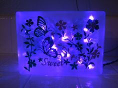 Butterfly Glass Block Light or Night Light by JandJLights on Etsy, $35.00