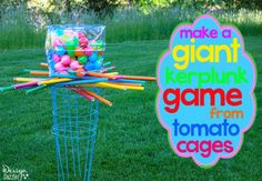 giant outdoor Kerplunk - Made from tomato cages, PVC pipes, and ball pit balls.