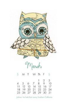 Adorable owl calendar.