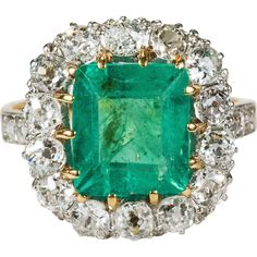 4ctw Authentic Antique Natural Emerald Diamond Ring 750 18k Gold Old Mine Cut Diamond Emerald Ring