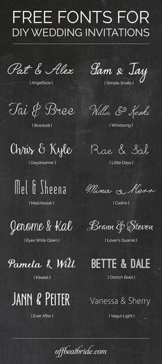 Free wedding invitation fonts for DIY invitations from @offbeatbride: