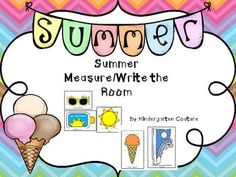 This Summer Measure/Write Around The Room includes two sets of ten pictures and 2 different student recording sheets. The measure and write the room recording sheet has pictures with measuring lines and a place to record how many units were measured along with a line to write the word.