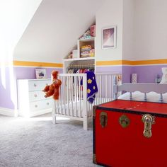 A nursery in not-so-traditional colours Toddler Bed, Nursery, Colours, Traditional, Interior Design, Bedroom, Furniture, Instagram, Home Decor