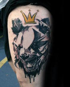 Geometric Bear With Color King Crown Guys Thigh Tattoo