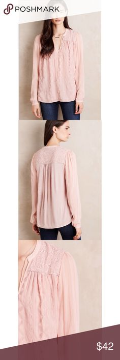 Anthropologie TINY embroidered top Pink blush embroidered top in like new condition • sleeves are unlined • Anthropologie Tops Blouses