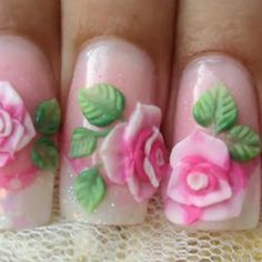 Nail Art Flores 3D Acrylic Nail Art