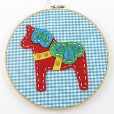Red Dala Horse Felt Embroidery Hoop Wall Art by Lova Revolutionary - lovahandmade on Etsy