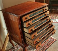 ButtonArtMuseum.com - Antique Oak J & P Coats 6 Drawer Spool Cabinet w/ Legs Embossed Back