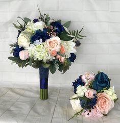Navy Wedding bouquet,Blush Bridal bouquet,Navy blue & blush bouquet,Navy wedding flowers,Blush wedding flowers,Wedding accessory,Bridesmaid