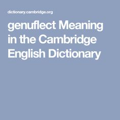genuflect Meaning in the Cambridge English Dictionary