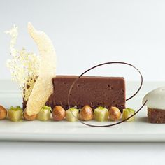 Rich chocolate mousse served with banana crème fraîche sherbet at The French Laundry in Yountville, CA