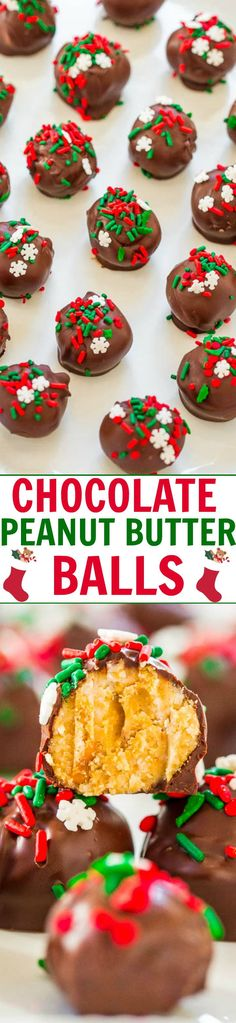 Chocolate Peanut Butter Balls — EASY, NO-BAKE chocolate peanut butter balls that are a holiday favorite!! They have it all: Salty, sweet, crunchy, with chocolate and peanut butter! Great for cookie exchanges or impromptu parties!! Christmas Snacks, Noel Christmas, Holiday Treats, Holiday Recipes, Christmas Cookies, Christmas Candy, Christmas Ideas, Christmas Recipes, Christmas Truffles