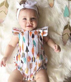 Baby Girl Arrow Fly Sleeve Romper