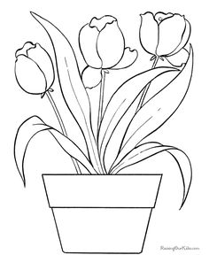 Fun Coloring Pages Easy Free Printable Flowers In A Pot