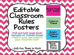 Do you need editable classroom rule posters to match your cute classroom decor...chevron, polka dot, bright chevron, or black and white theme?  This download includes my four most popular classroom decor themes. The rule posters come in two sizes to best meet your needs: full page posters or half page posters.  The text in this document is completely editable so that you can type in your specific classroom rules, use your favorite fonts, and use whatever color font you desire