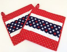 Red White and Blue Potholders Handmade Insulated Patriotic Quilted Hot Pads in Red White and Blue