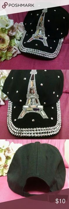 NEW! Bling-tastic Eiffel Tower Hat NWOT black baseball cap maxed out with FABULOUS rhinestone Eiffel Tower design. New and never worn. Accessories Hats