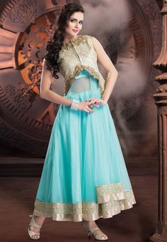 Aqua Net and Shimmer Readymade Abaya Style Churidar kameez: KFT33