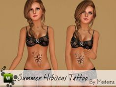 Sims 3 Finds - Summer Hibiscus Tattoo by Metens at The Sims Resource