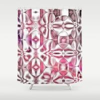 Painted Modern Geometrics in Pink Shower Curtain