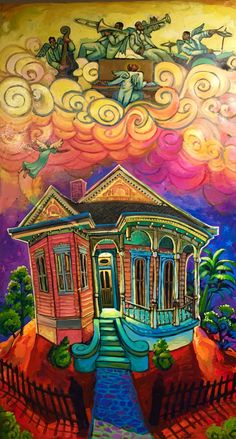 300 Posters of this original image made for the 2008 Algiers River Fest. Acrylic on wood