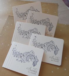 Thank you note cards, hand stamped elegant flourish, black and gold, matching envelopes, set of 8.