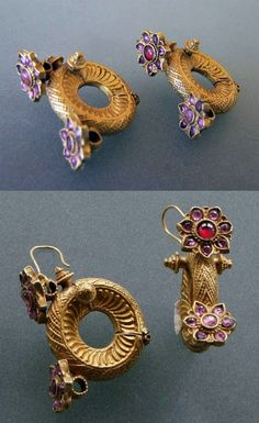 India | Earrings; gold and rubies | Andhra Pradesh, 19th- 20th century | POR