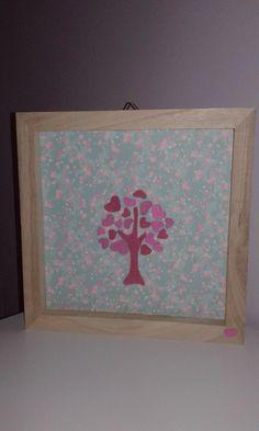 Cadre carré en bois, arbre en feutrine rose : Chambre d'enfant, de bébé par ma-marotte