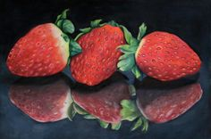 strawberries in the mirror, an A4 colour pencil piece inspired by the reflections on my black glass table top
