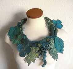 Leaf Scarf- Teal Blue with Deep Turquoise, Olive Greem, Frosted Pine, and Light teal Green Embroidered Leaves- Fiber Art Scarf