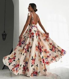 Fashion 2019 New Spaghetti Strap Beach Dress Sexy Deep V-Neck Women Long Sundress Bow Boho Floral Print Backless Maxi Dresses Backless Long Dress, Sexy Maxi Dress, Sexy Dresses, Beautiful Dresses, Evening Dresses, Long Dresses, Elegant Dresses, Dress Long, Casual Dresses