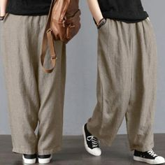 ee8f43dd2a0 Wide Leg Pants New Brand Men Loose Wide Leg Pants Cotton  Linen Casual  Bloomers Trousers Harem Plus Size