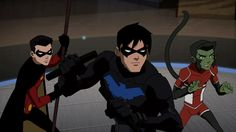 Robin, Nightwing and Beast Boy... Only can happen if there's an alternate reality, or if Robin was one of the other Robins Batman recruited.. Just saying!