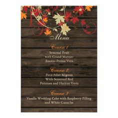 Outdoor Wedding Menu Barnwood Rustic ,fall leaves wedding menu cards