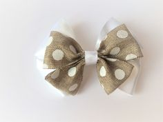 Material: Bottom - Satin Top - Textured brown with white spots Choose your back: * French Barrette Clip * Elastic Head Band - made to measure * Brooch Clip * Nothing (great for adding the finishing touch to the perfect gift). Barrette Clip, Satin Top, Bows, Texture, Gifts, Ticks, Arches, Surface Finish, Presents
