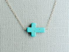 SALESilver Sideways Turquoise Cross Necklace by RHjewels on Etsy, $24.00