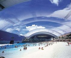 Ocean Dome Artificial Beach, with the top up . A climate controlled artificial beach in Myazaki, Japan.