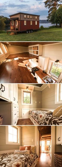 A 160 sq.ft. tiny house built on a triple-axle trailer. The house includes two lofts and a downstairs area that can be used as a bedroom or home office.: