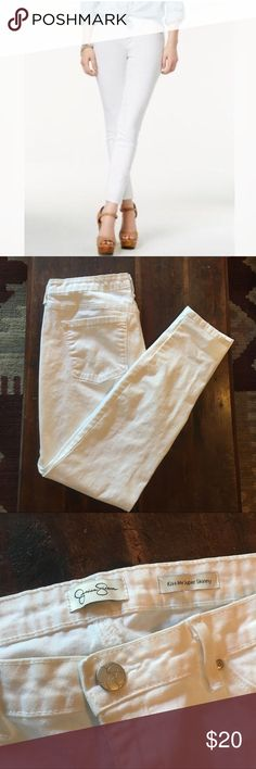 White Skinny Jeans ✨ Excellent condition! Jessica Simpson Kiss Me Super Skinny jeans. Material breakdown in photos. There is a barely noticeable stain in last picture but its so small you may not be able to see it. Just wanted you to be aware. :) Jessica Simpson Jeans Skinny