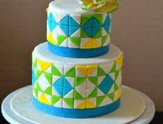 I love this half square triangle pattern I found on the internet. The tiles are made from 1' squares.