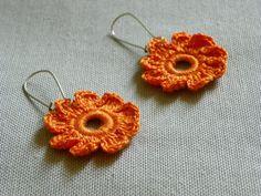 Crochet handmade Earrings Lacework Flowers Pumpkin by yarnisland, $9.50
