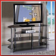 Silver tv stand glass shelves metal and new inch free inside. Tv Stand Furniture, Acme Furniture, Marble Furniture, Gray Furniture, Tv Stand Shelves, Glass Shelves, Silver Tv Stand, Tv Stand Minimalist, Tv Stand Makeover
