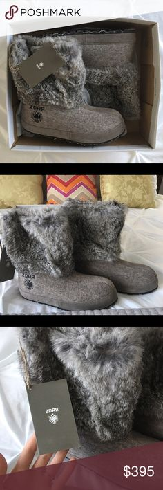 ZDAR Nikita Low Natural Rabbit Fur Boots US 8 NWT NEW WITH TAGS - Nikita boots are made from a combination of rabbit skin and wool felt. The upper part is made from Rabbit skin and it is lined with a 100% wool fabric lining. The forefoot part is made from 8mm wool felt. The wool felt is, water resistant, highly insulating yet breathable it is made from 100% sheep swool and produced in Germany. Nikita is completely handmade and fitted with an outer sole made from natural rubber with an inlay…