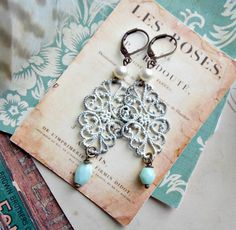 candlelight. lacy filigree earrings, shabby chic, mismatched, pearls, czech glass bead, painted, altered, boho jewelry, aqua green, dangles by FabFleaMarket on Etsy
